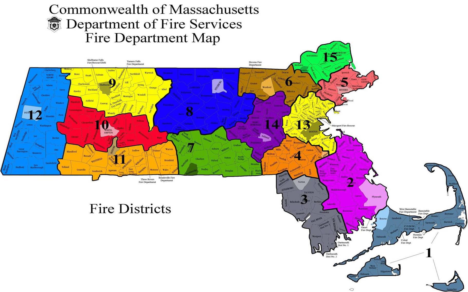 Massachusetts Fire Districts Contact Info - Map of massachussetts